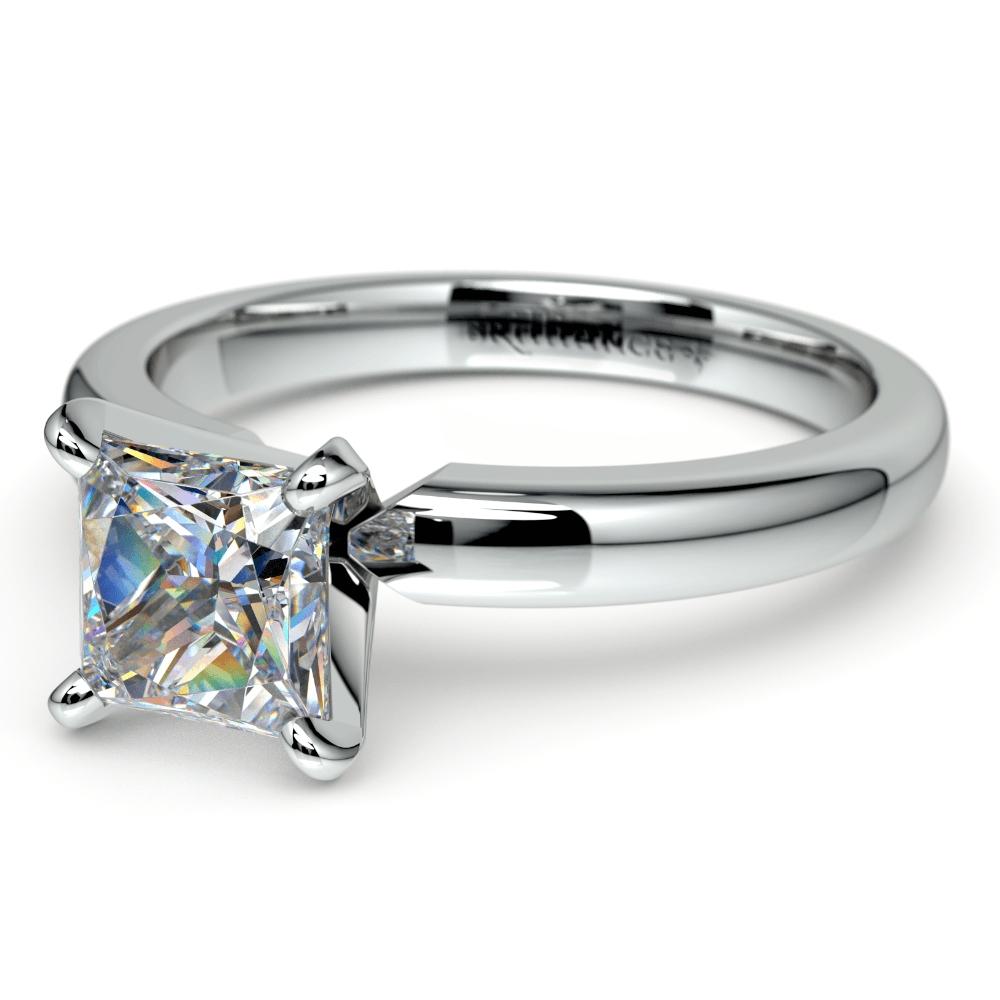 Princess Diamond Preset Engagement Ring In Platinum (1 Ctw) With Preset Engagement Rings (View 14 of 15)