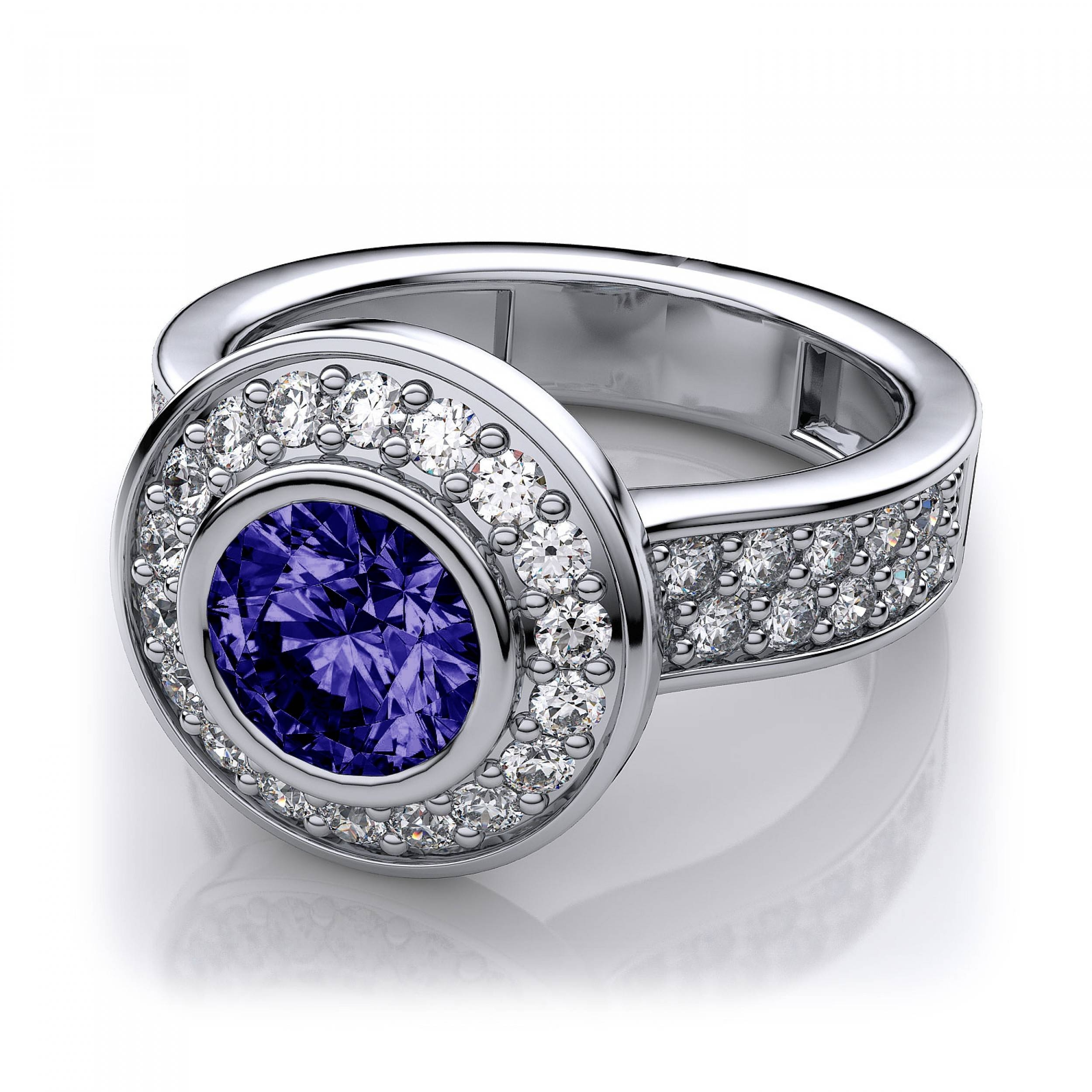 Profile Tanzanite Halo And Bezel Set Diamond Ring In 14k White Gold Intended For Tanzanite Engagement Rings With White Gold (View 3 of 15)