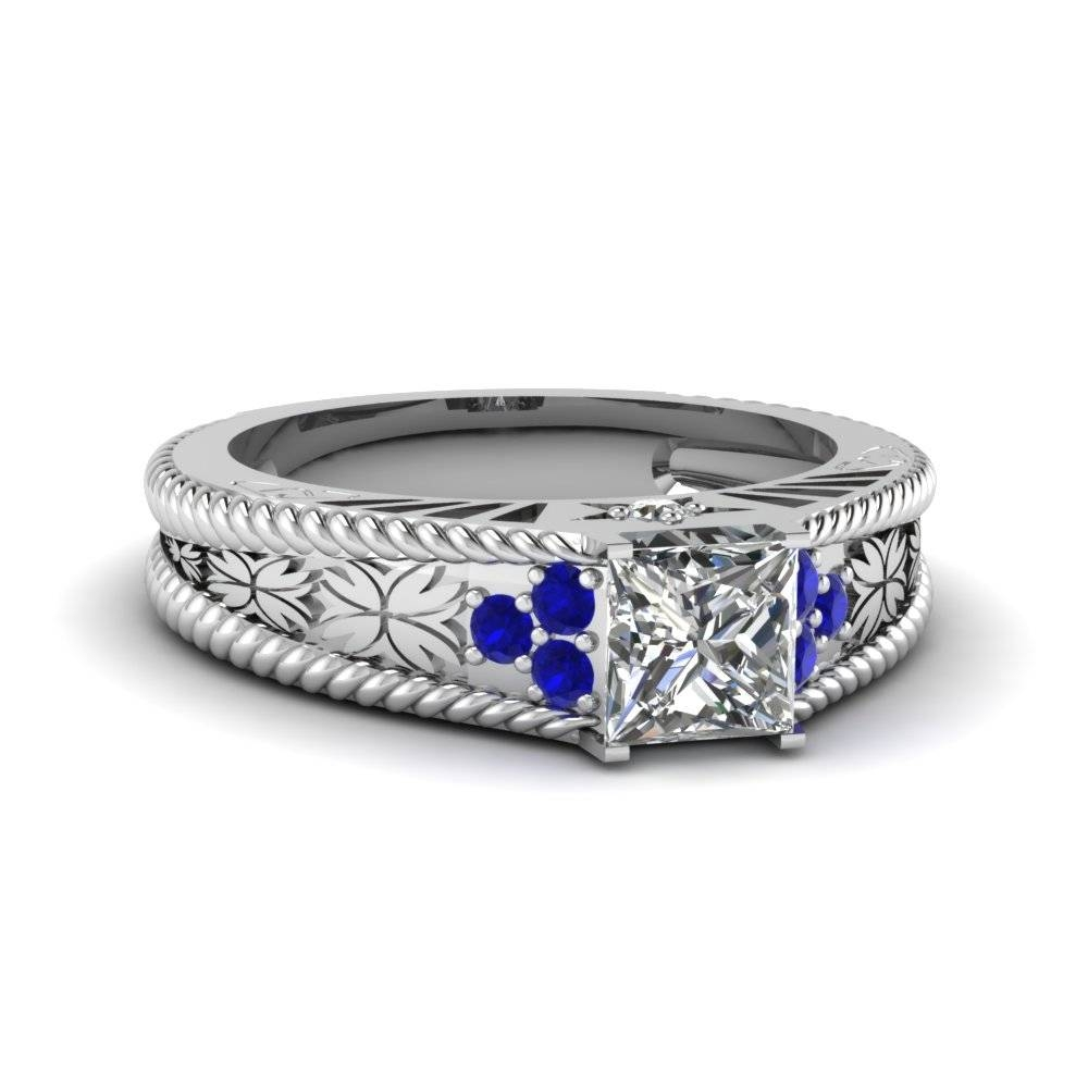 Prong Blue Sapphire | Fascinating Diamonds With Vintage Sapphire Wedding Bands (Gallery 13 of 15)