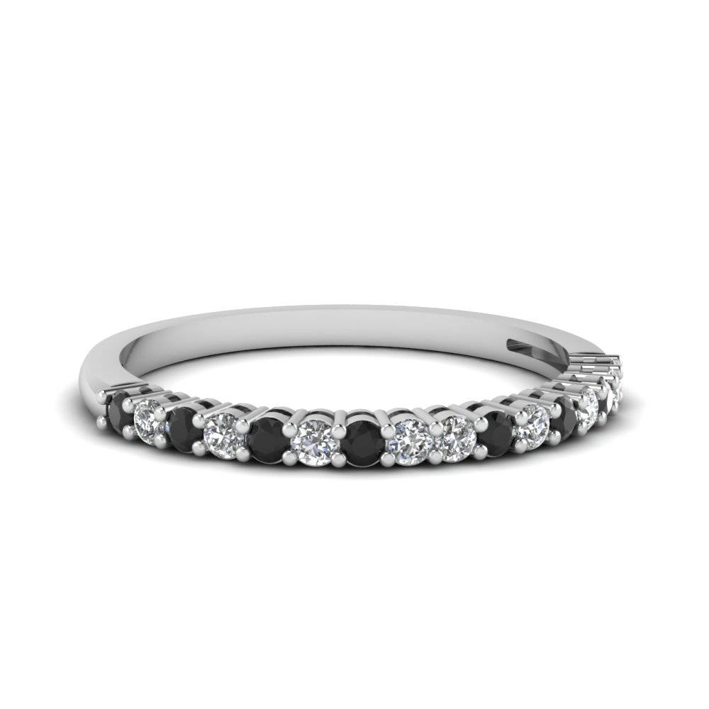 Prong Set Anniversary Womens Wedding Band Ring With Black Diamond With Regard To Women's Wedding Bands (Gallery 49 of 339)