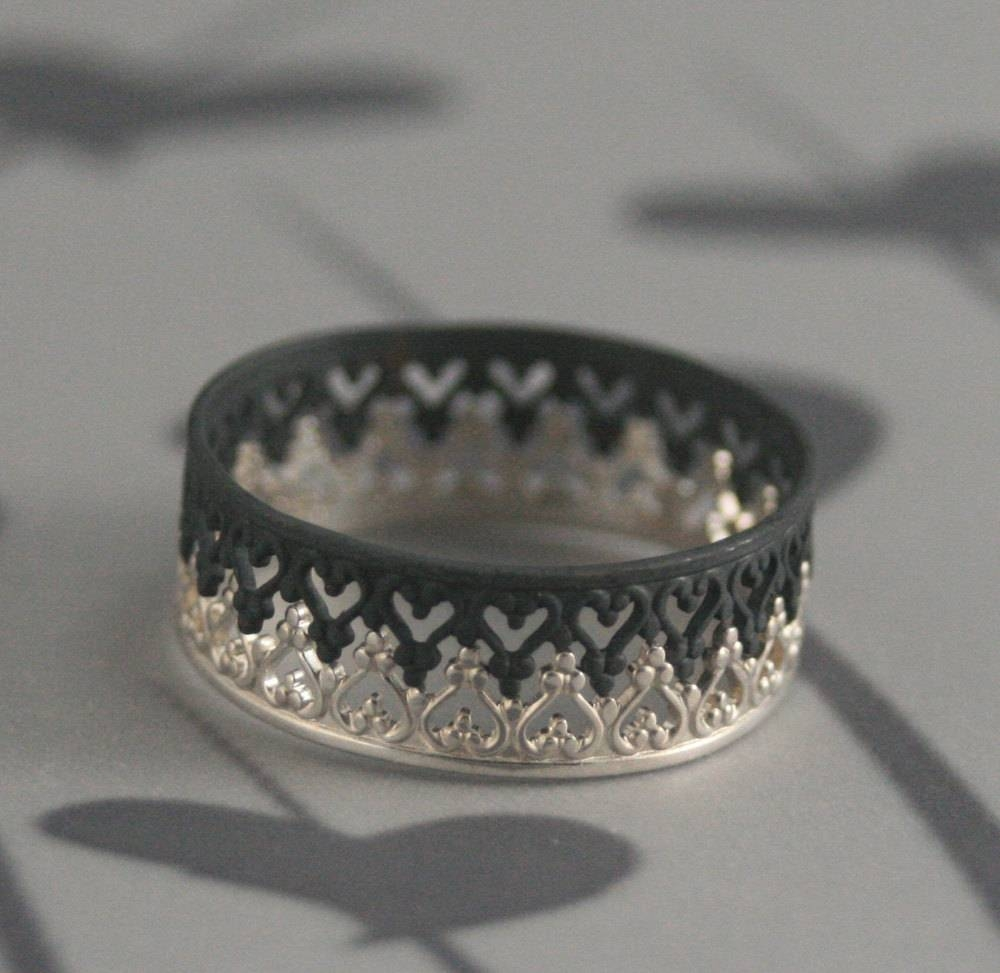 Queen Of Heartsblack Majesty Crown Inspired Wedding Band For King And Queen Engagement Rings (Gallery 7 of 15)