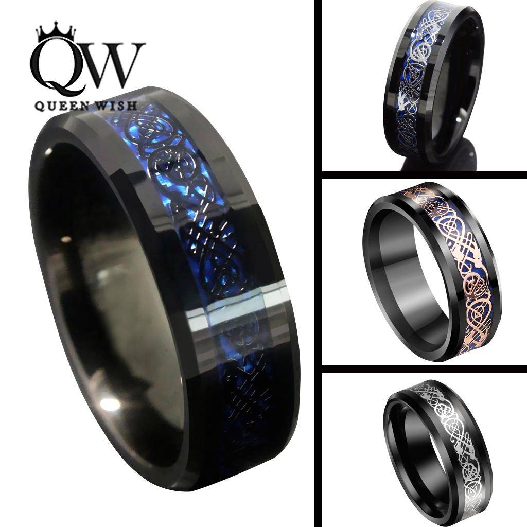 Queenwish 8Mm Black Blue Tungsten Carbide Rings Sliver/black/ 18K Throughout Men's Black And Blue Wedding Bands (View 11 of 15)