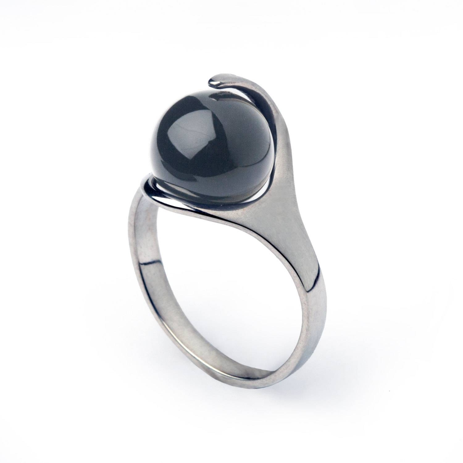 Ra Hematite Ring Egyptian Ring Sterling Silver Hematite Pertaining To Hematite Wedding Bands (View 11 of 15)