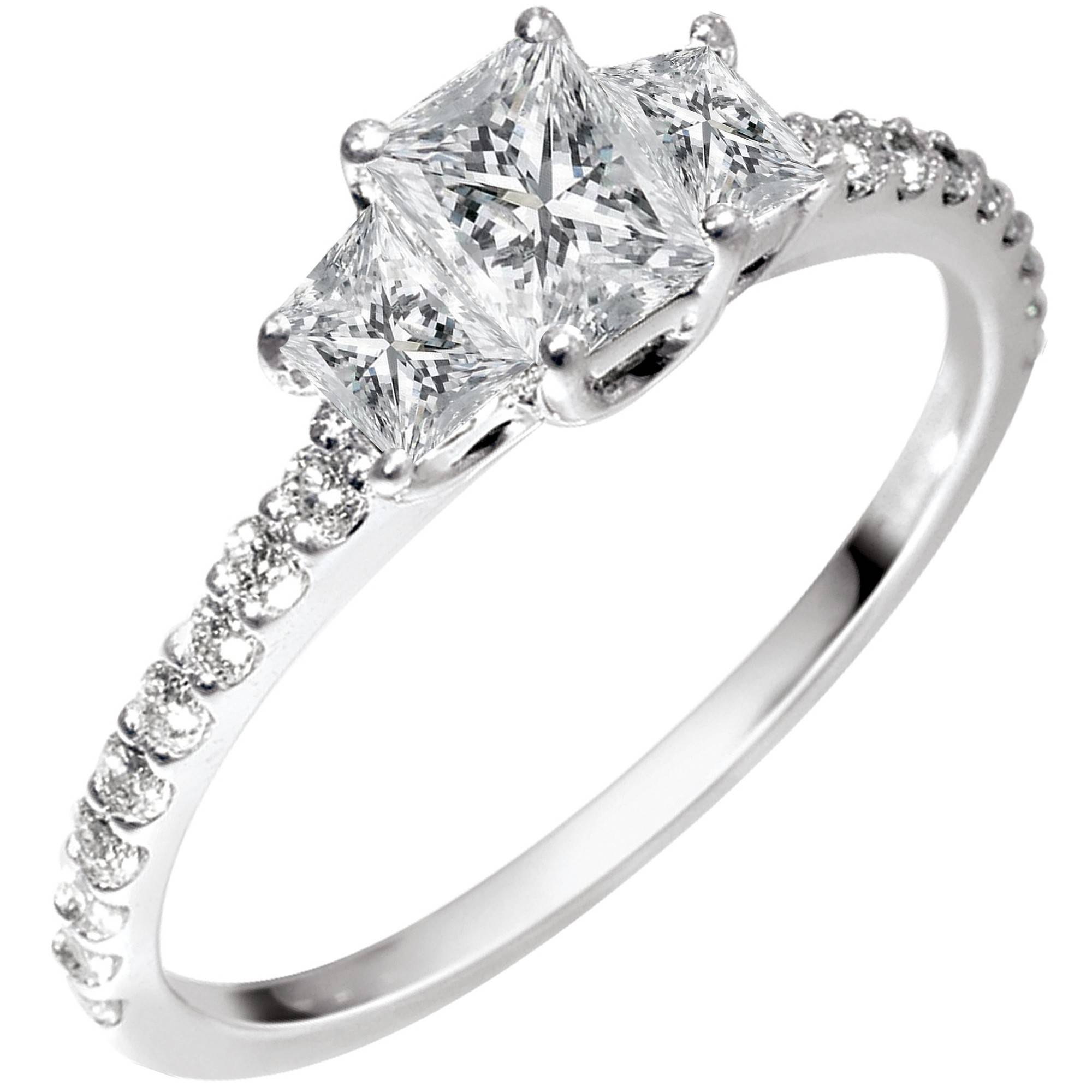 Radiant Cut Diamond And Trapezoid Cut Diamond 3 Stone Ring In 18Kt Regarding Radiant Wedding Rings (View 5 of 15)