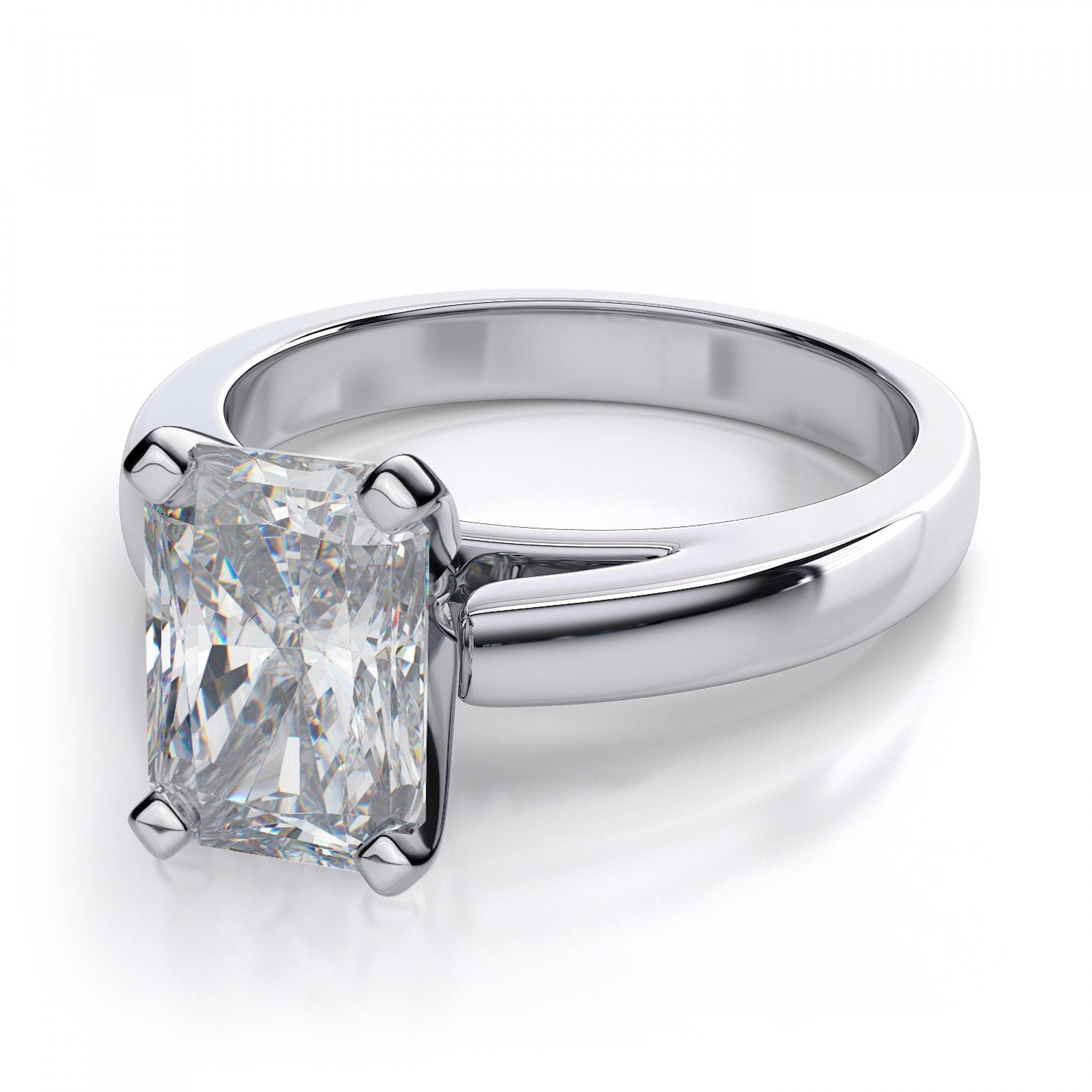 Radiant Cut Diamond Engagement Ring – 14K White Gold In Radiant Wedding Rings (View 6 of 15)