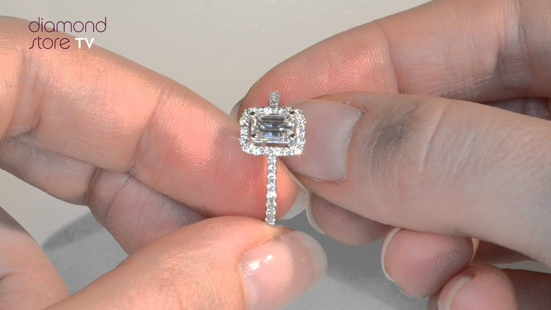 Radiant White Gold 18k Ella Emerald Cut Diamond Ring – Youtube Within Costco Diamond Engagement Rings (View 4 of 15)
