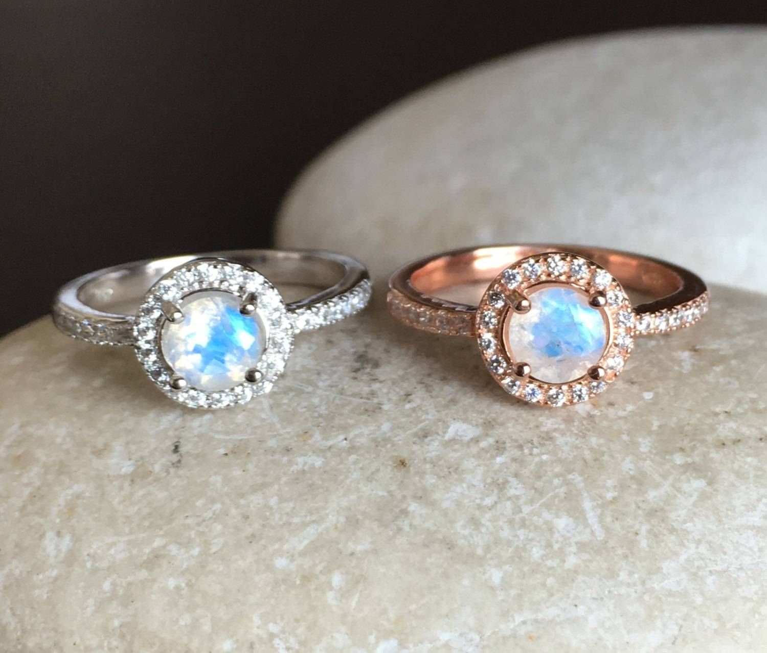 Rainbow Moonstone Engagement Ring Moonstone Promise Ring Inside June Birthstone Engagement Rings (View 12 of 15)