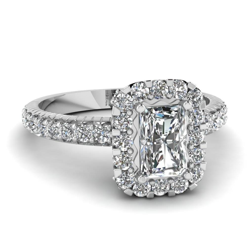 Rare Radiant Cut Halo Engagement Rings | Fascinating Diamonds Regarding Radiant Wedding Rings (View 11 of 15)