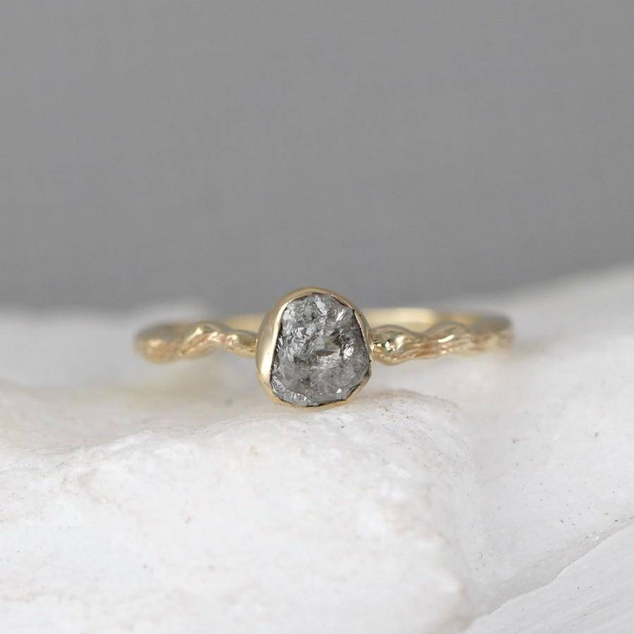 Raw Diamond Twig Engagement Ring – 14K Yellow Gold Branch Rings Inside Tree Branch Engagement Rings (View 8 of 15)