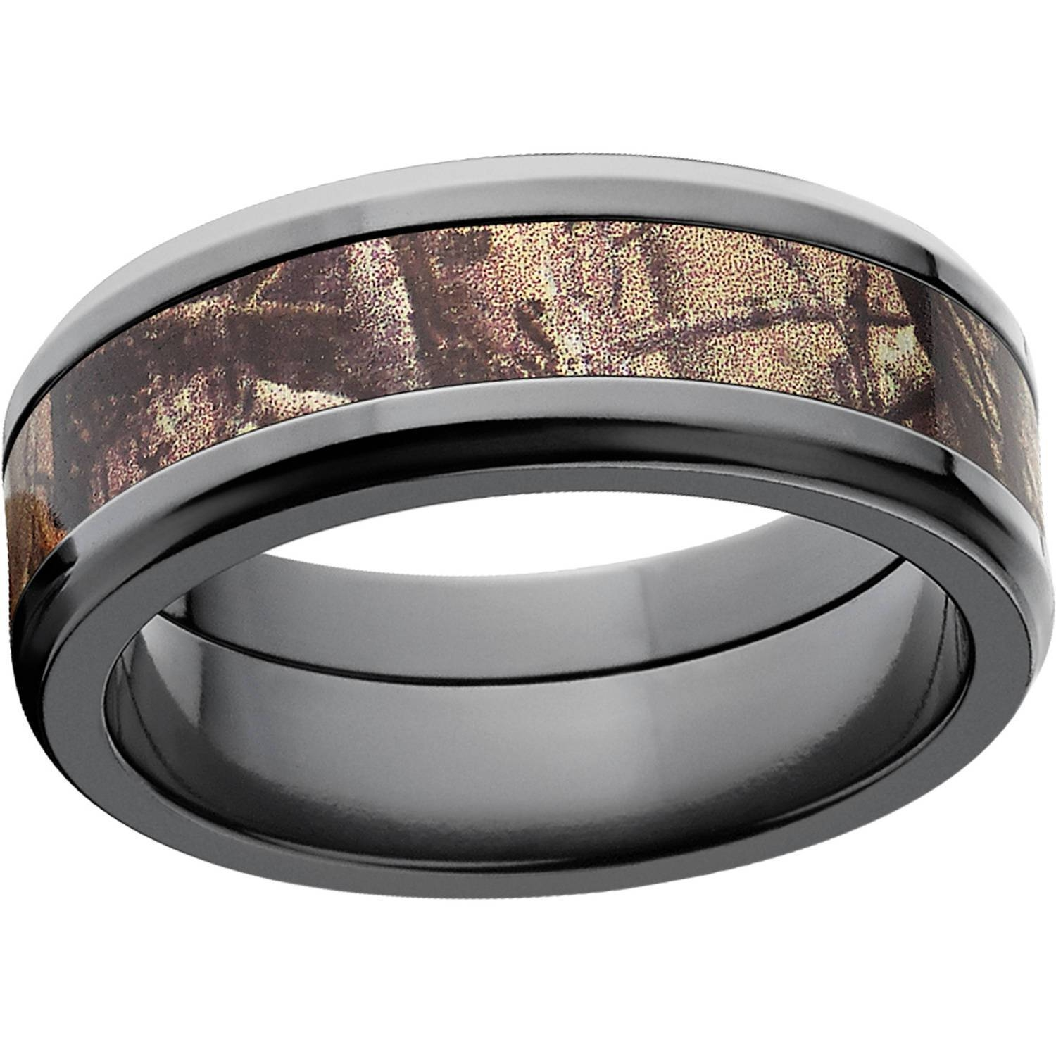 Realtree Ap Men's Camo 8Mm Black Zirconium Wedding Band – Walmart Regarding Men's Wedding Bands At Walmart (View 14 of 15)