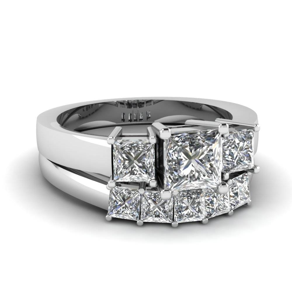 Recent Top 20 Princess Cut Rings Style – Fascinating Diamonds Throughout Princess Cut Diamond Wedding Rings Sets (View 10 of 15)