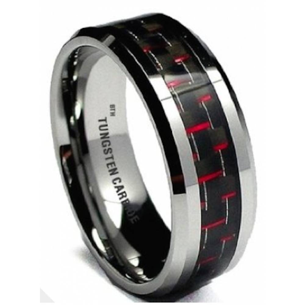 Red Carbon Inlay Mens Tungsten Carbide Wedding Engagement Band Ring Intended For Mens Carbon Fiber Wedding Rings (View 11 of 15)