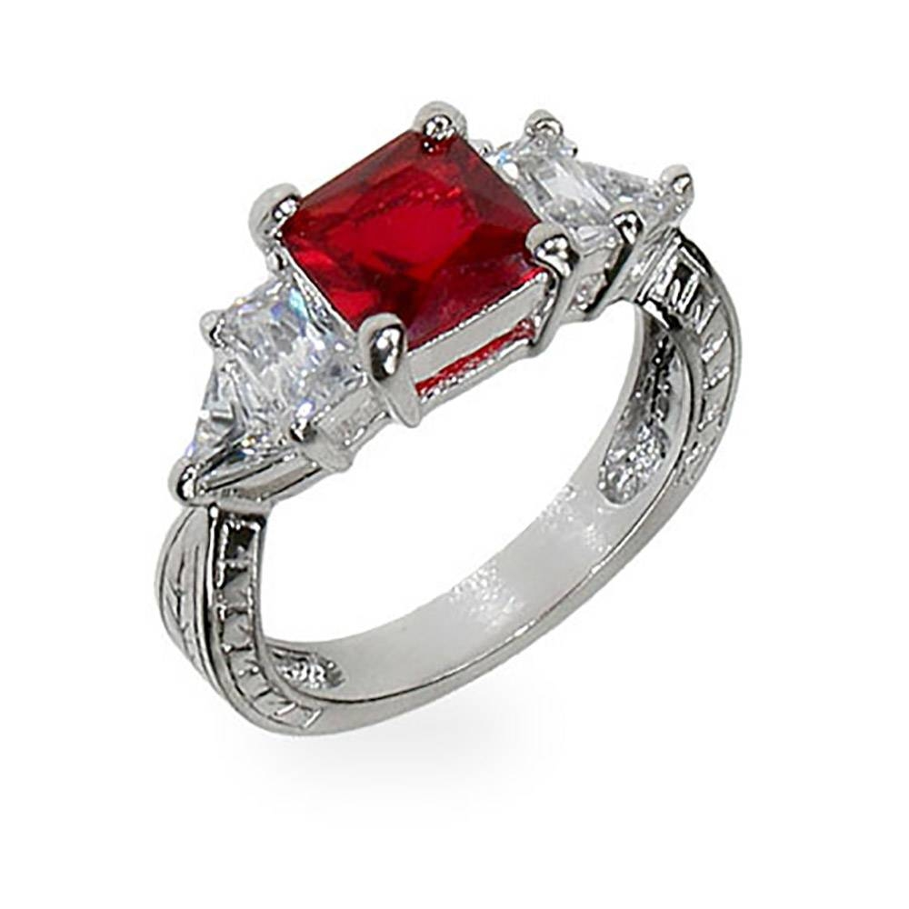 Red & Diamond Cz Silver Engagement Ring | Eve's Addiction® With Engagement Rings With Ruby And Diamond (View 10 of 15)