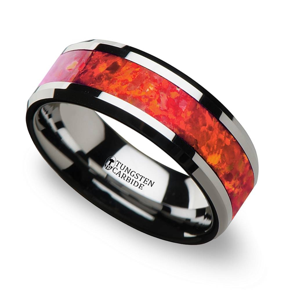 Red Opal Inlay Men's Wedding Ring In Tungsten (8Mm) Within Red Men's Wedding Bands (View 11 of 15)