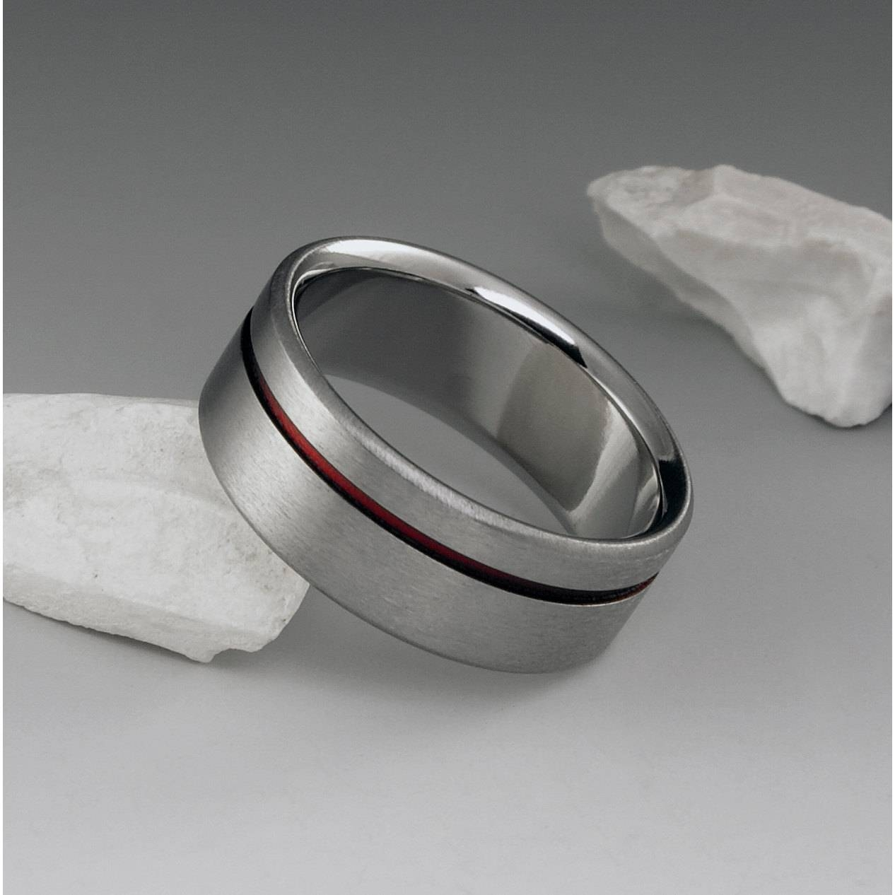 Red Titanium Ring Red String Of Fate Titanium Band Mens Intended For Red String Of Fate Wedding Rings (View 10 of 15)