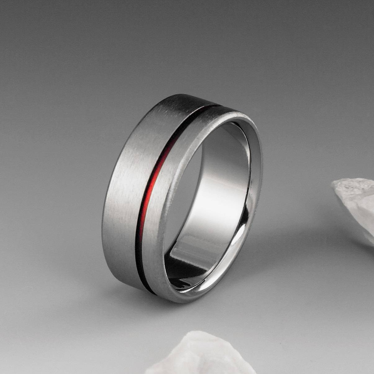 Red Titanium Ring Red String Of Fate Titanium Band Mens With Red String Of Fate Wedding Rings (View 11 of 15)