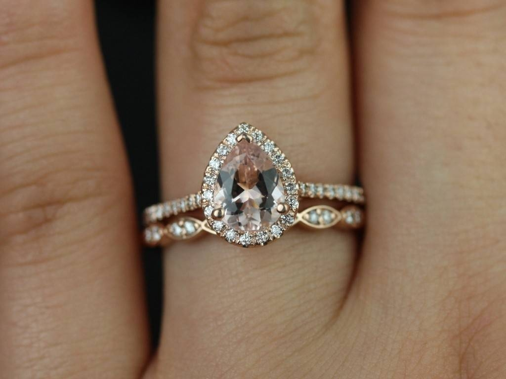Reece Pear Shaped Diamond With Sapphire Halo Engagement Rings | In In Pear Shaped Engagement Rings And Wedding Bands (View 12 of 15)