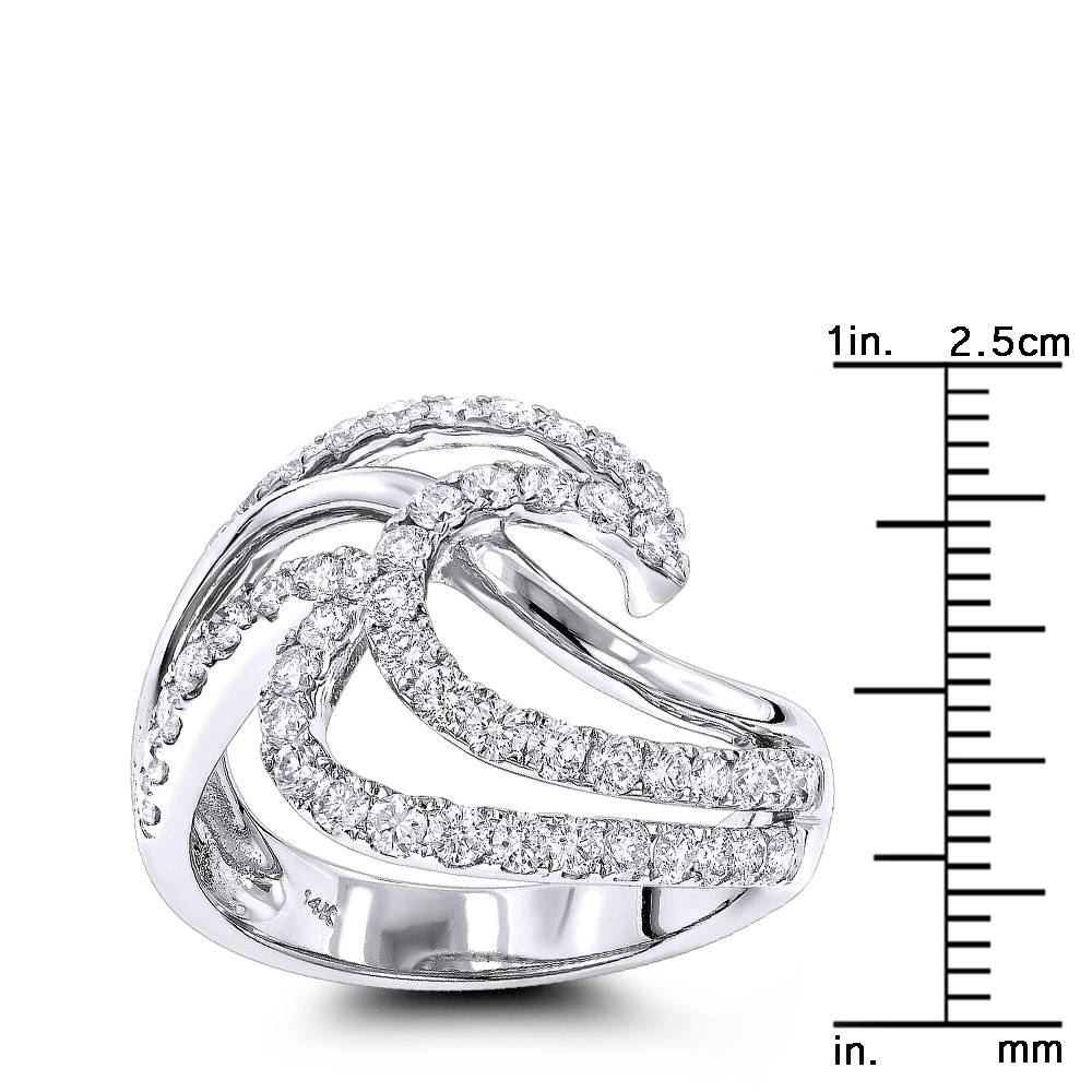 Right Hand Rings: Gold Diamond Wave Ring For Women  (View 9 of 15)