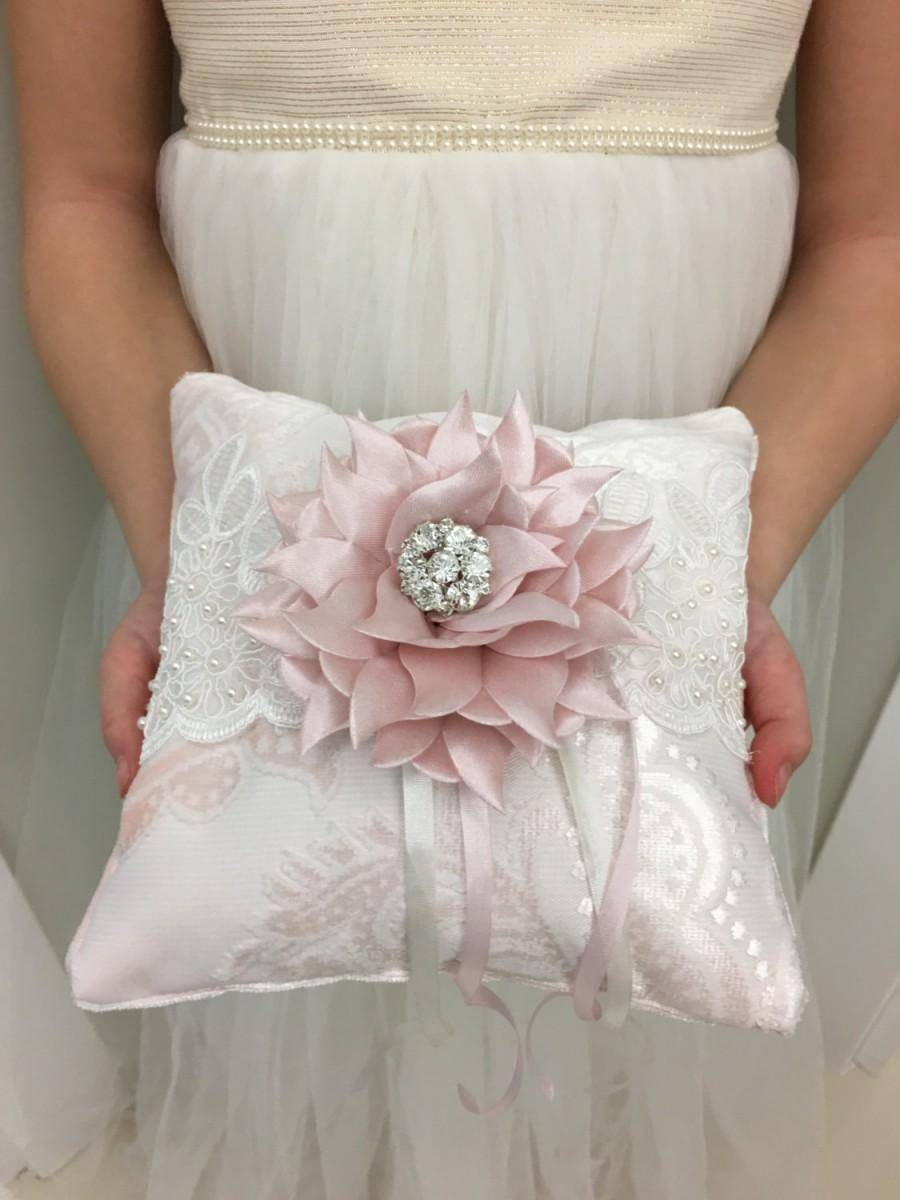 Ring Bearer Pillow, Light Pink Wedding Ring Pillow, French Lace Within Light Pink Wedding Rings (View 14 of 15)