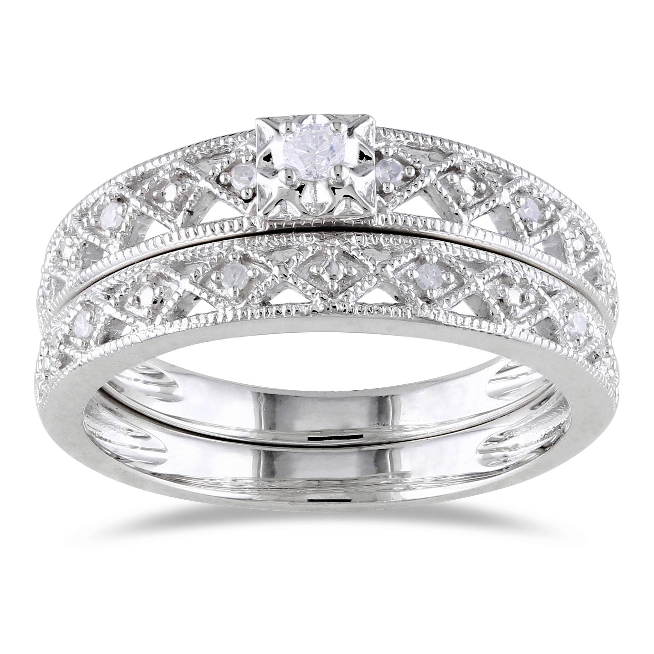 star band white tw northern in rings set gold wedding diamond matching cut setting jewellery with cushion