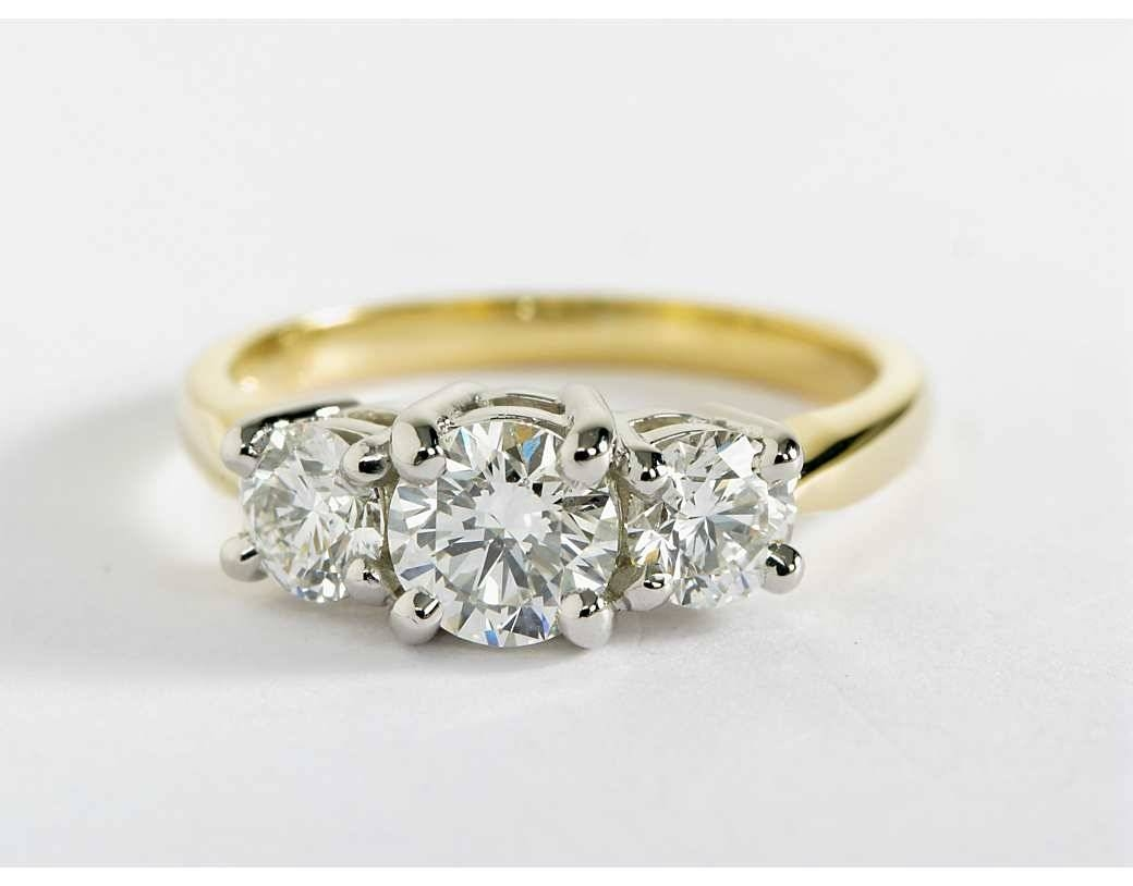 Ring : Create Your Own Three Diamond Engagement Rings Three Stone With Regard To Three Gold Wedding Rings (Gallery 7 of 15)