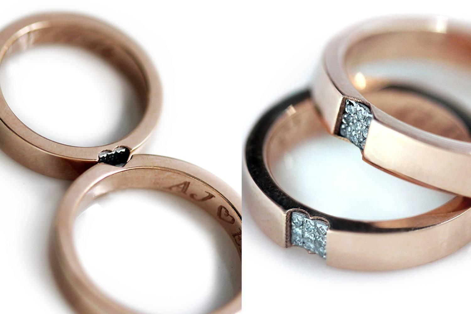 Photo Gallery of Couple Rose Gold Wedding Bands Viewing 14 of 15