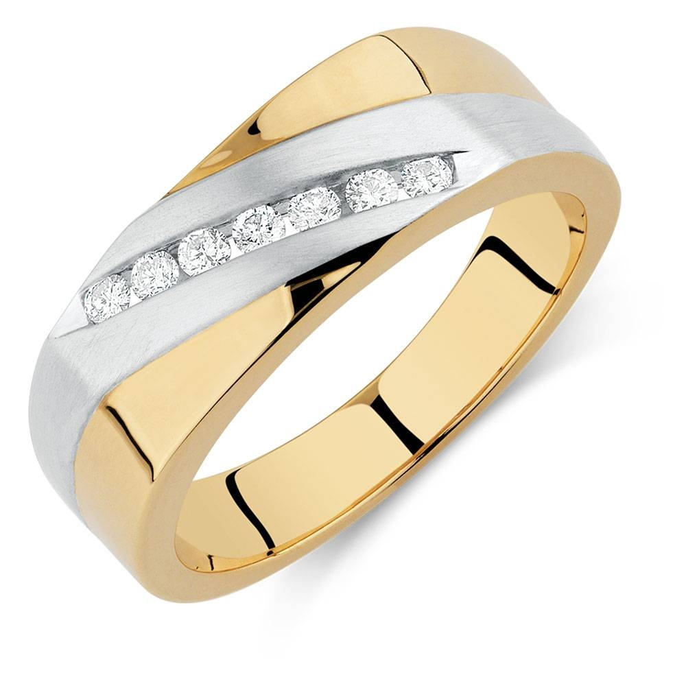 Ring With 0 20 Carat Tw Of Diamonds In 10ct Yellow White Gold Regard To