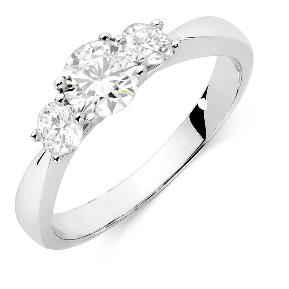 Ring With 1 Carat Tw Of Diamonds In 18Kt White Gold With Regard To White Gold Trilogy Engagement Rings (View 12 of 15)
