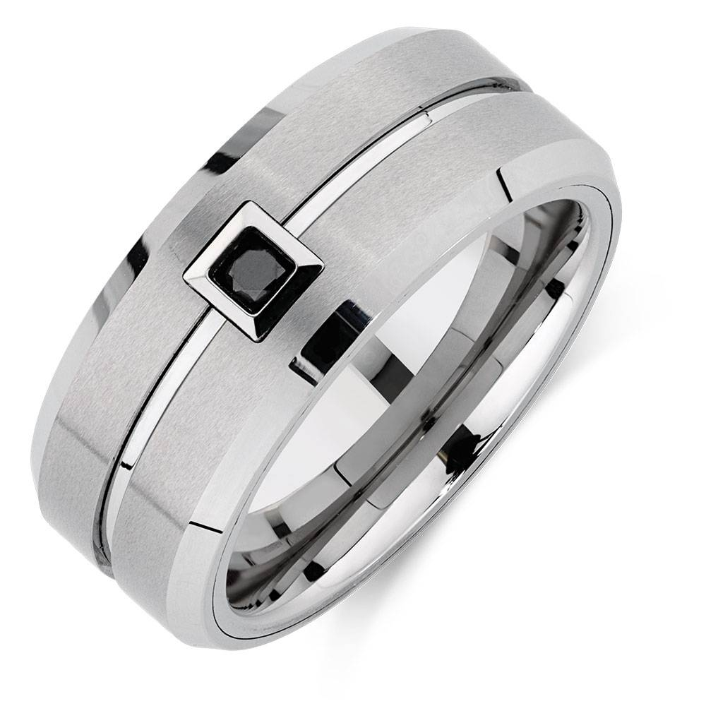 Ring With An Enhanced Black Diamond In White Tungsten For Black Tungsten Wedding Bands With Diamonds (View 10 of 15)