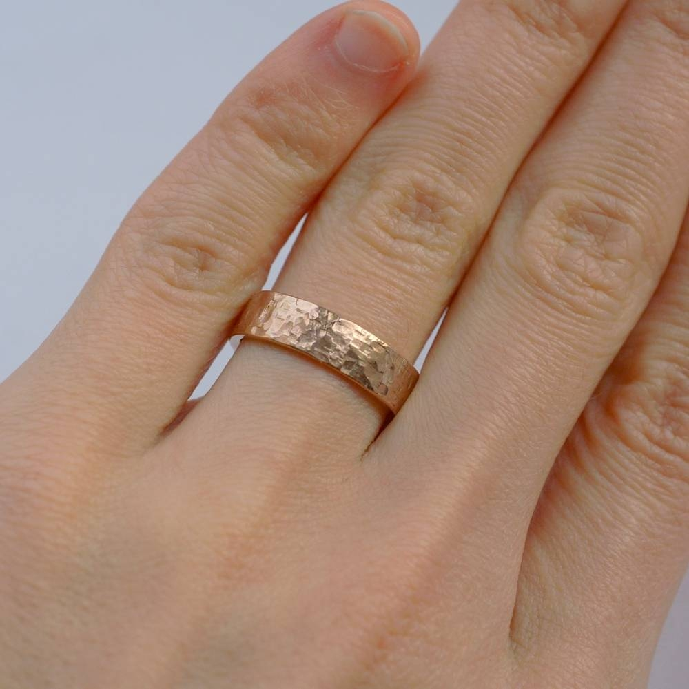 Rock Texture 9K Rose Gold Ring – Anna Rei Jewellery With Regard To Hammered Rose Gold Mens Wedding Bands (View 13 of 15)