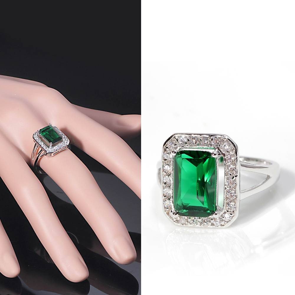 Rom The White Gold Plated Rectangle Emerald /green Cut Cz Zircon In Emerald Engagement Rings For Women (Gallery 13 of 15)