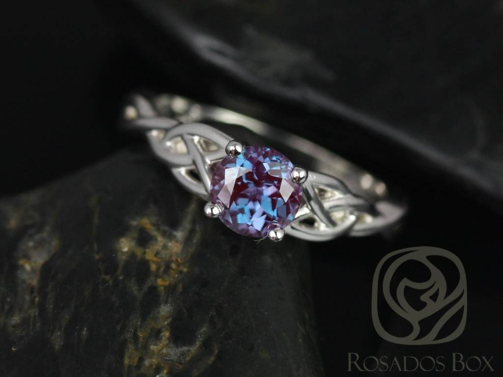 Rosados Box Cassidy 6Mm 14Kt White Gold Round Alexandrite Celtic For Celtic Knot Engagement Rings (View 9 of 15)