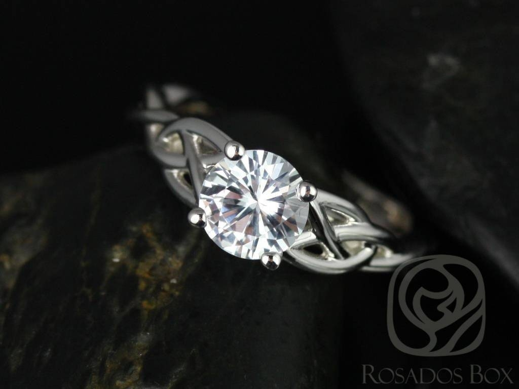 Rosados Box Cassidy 6Mm 14Kt White Gold Round White Sapphire Intended For Celtic Knot Engagement Rings (View 10 of 15)