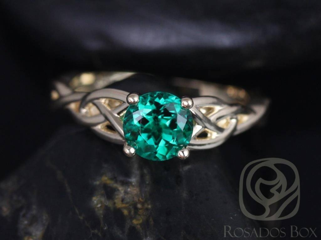 Rosados Box Cassidy 6Mm 14Kt Yellow Gold Round Emerald Celtic Knot Regarding Emerald Celtic Engagement Rings (View 10 of 15)