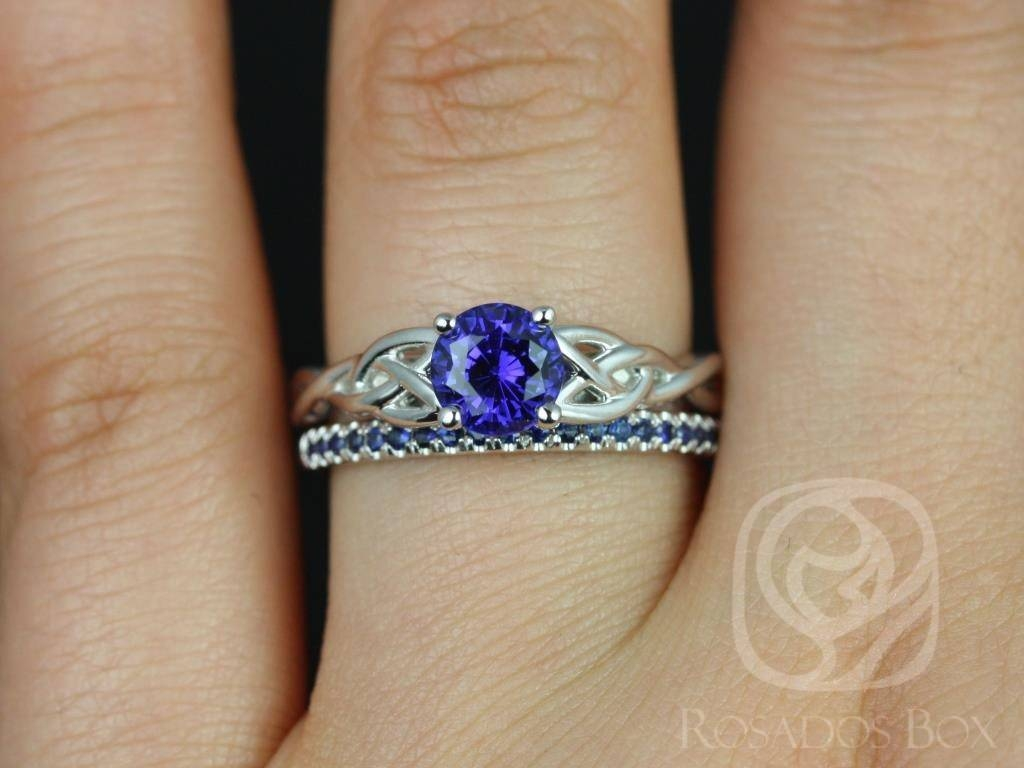 Rosados Box Cassidy 6Mm & Kierra White Gold Round Blue Sapphire In Celtic Sapphire Engagement Rings (View 10 of 15)