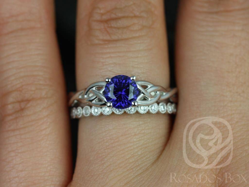 Rosados Box Cassidy 6Mm & Petite Bubbles White Gold Round Blue With Celtic Sapphire Engagement Rings (View 11 of 15)