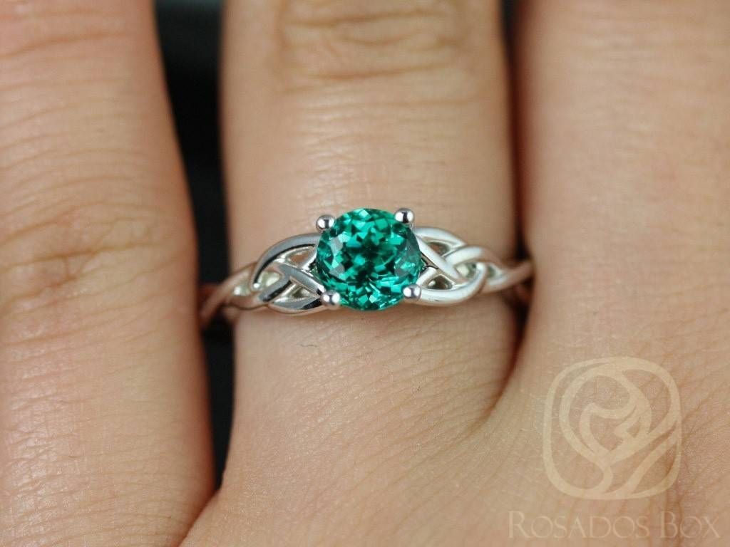 Rosados Box Cassidy 6Mm White Gold Round Emerald Celtic Knot With Celtic Knot Engagement Rings (View 12 of 15)