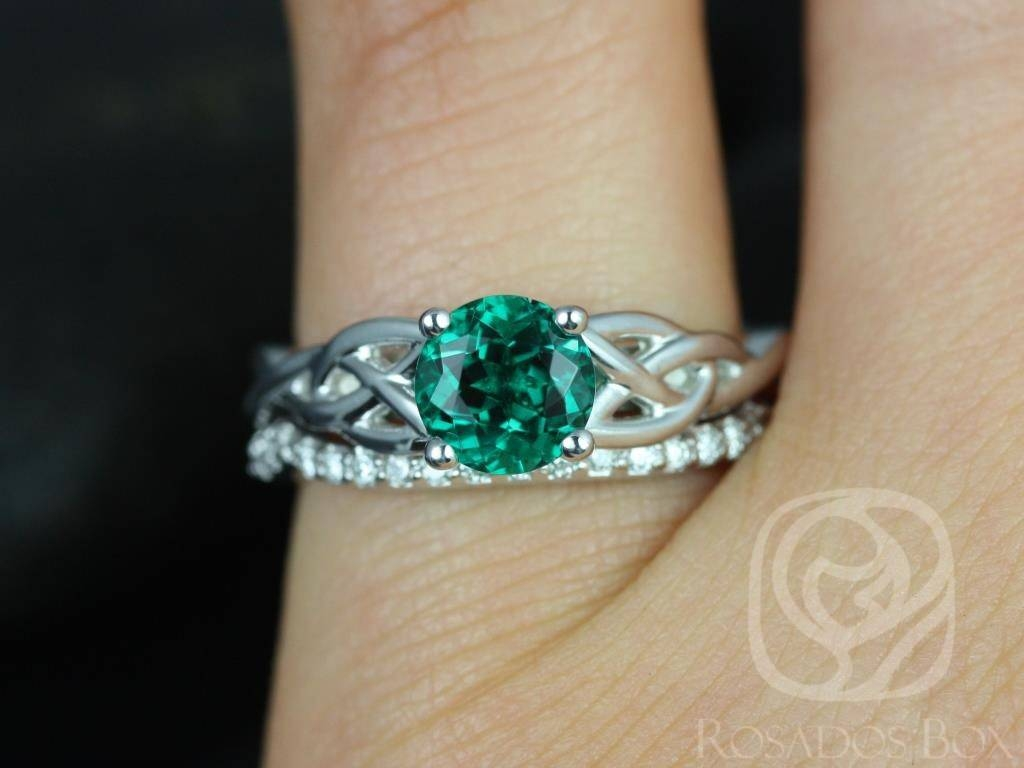 Rosados Box Cassidy 6mm White Gold Round Emerald & Diamond Celtic Regarding Celtic Emerald Engagement Rings (View 2 of 15)