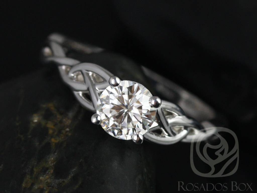 Rosados Box Cassidy 6Mm White Gold Round Fb Moissanite Celtic Knot Within Celtic Diamond Engagement Rings (View 14 of 15)