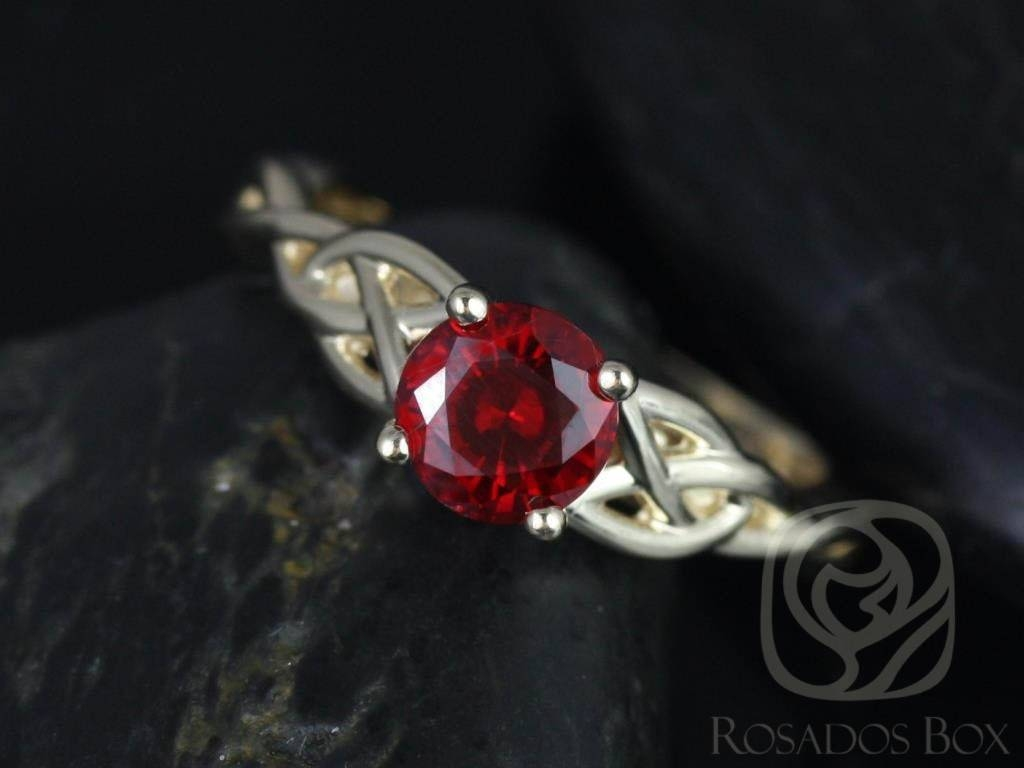 Rosados Box Cassidy 6mm Yellow Gold Round Ruby Celtic Knot Throughout Celtic Emerald Engagement Rings (View 10 of 15)