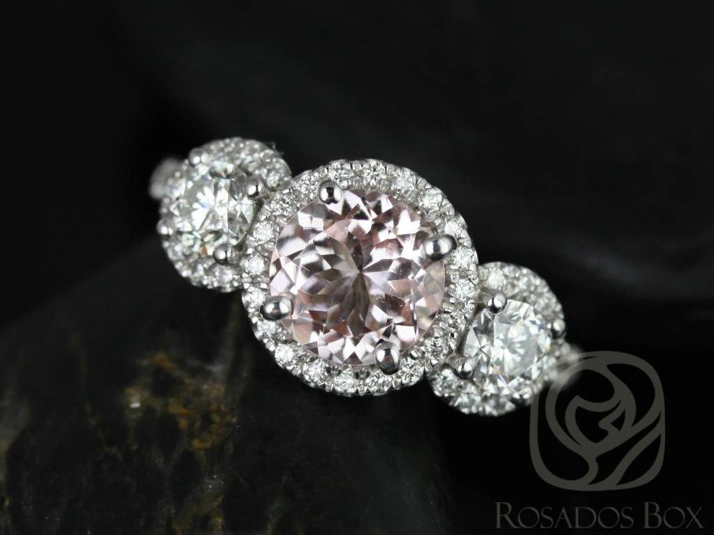 Rosados Box Dita 7Mm White Gold Round Morganite And Diamond 3 Regarding Bling Wedding Rings (View 12 of 15)