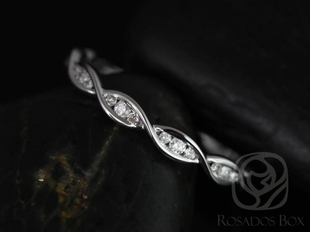 Rosados Box Ember Platinum Infinity Dna Twist Diamonds Halfway Within Twisted Diamond Wedding Bands (View 6 of 15)