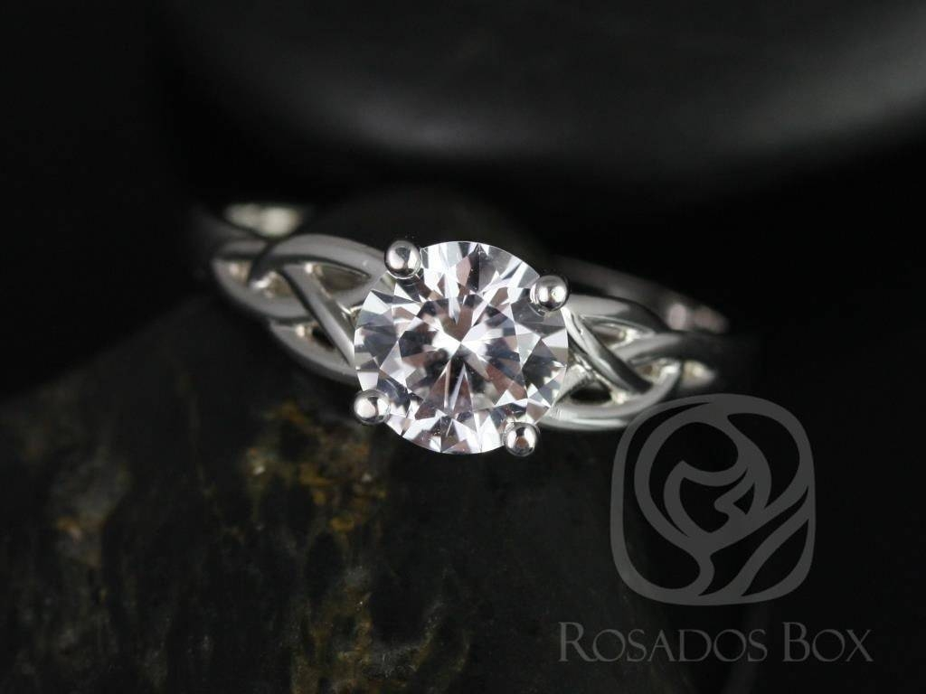 Rosados Box Mccara 7Mm 14Kt White Gold Round White Sapphire Celtic Throughout Celtic Sapphire Engagement Rings (View 14 of 15)