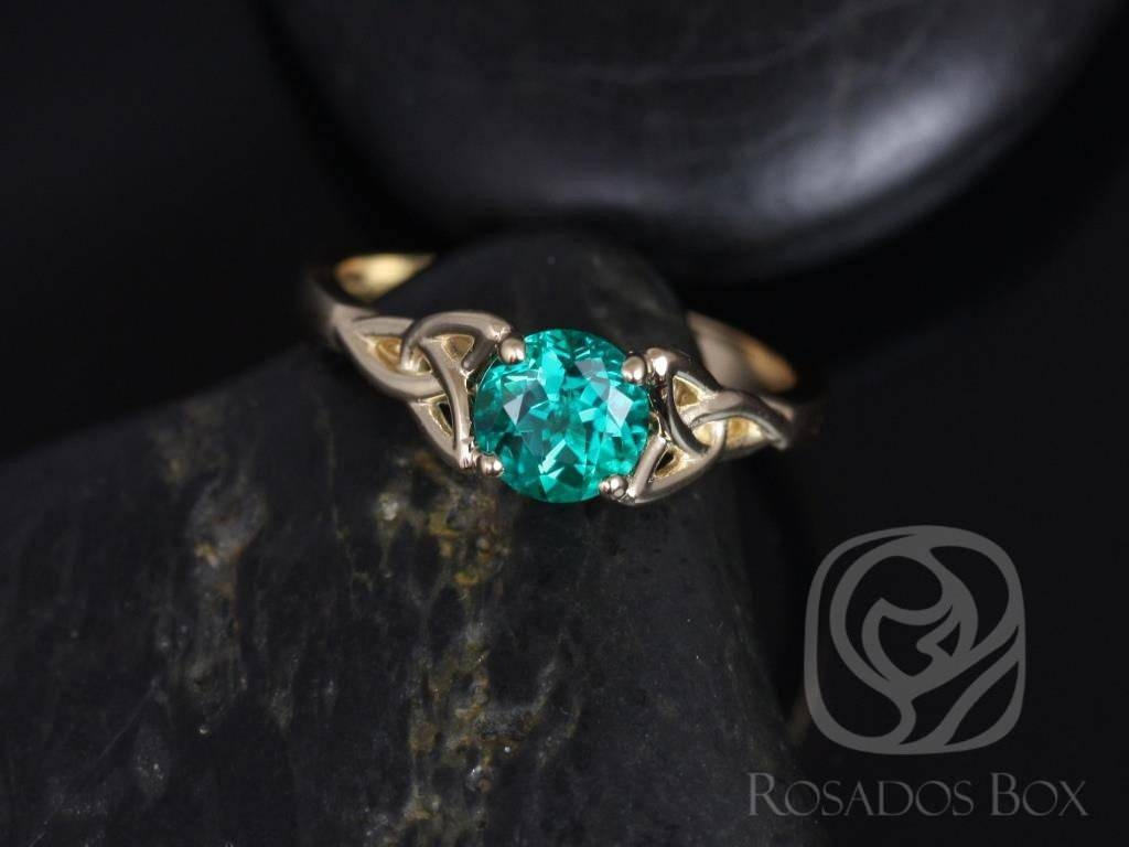Rosados Box Teagan 6Mm 14Kt Yellow Gold Round Emerald Celtic Knot Within Celtic Trinity Engagement Rings (View 14 of 15)