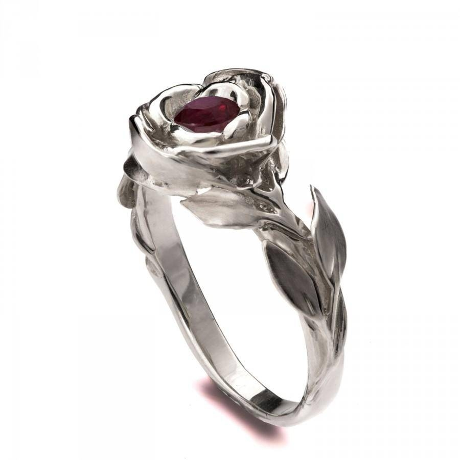 Rose Engagement Ring, 18k White Gold Ruby Engagement Ring, Unique In Ruby Engagement Rings White Gold (View 3 of 15)