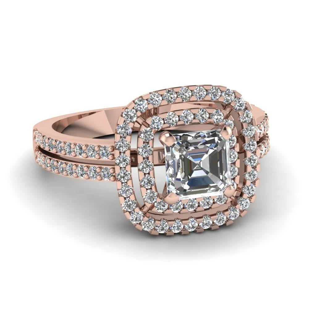 Rose Gold Asscher White Diamond Engagement Wedding Ring In Shared With Regard To Rose And White Gold Wedding Rings (View 7 of 15)