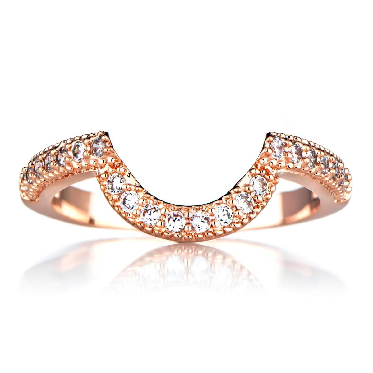 Rose Gold Cubic Zirconia Wedding Band For Rose Gold Wedding Bands (View 10 of 15)