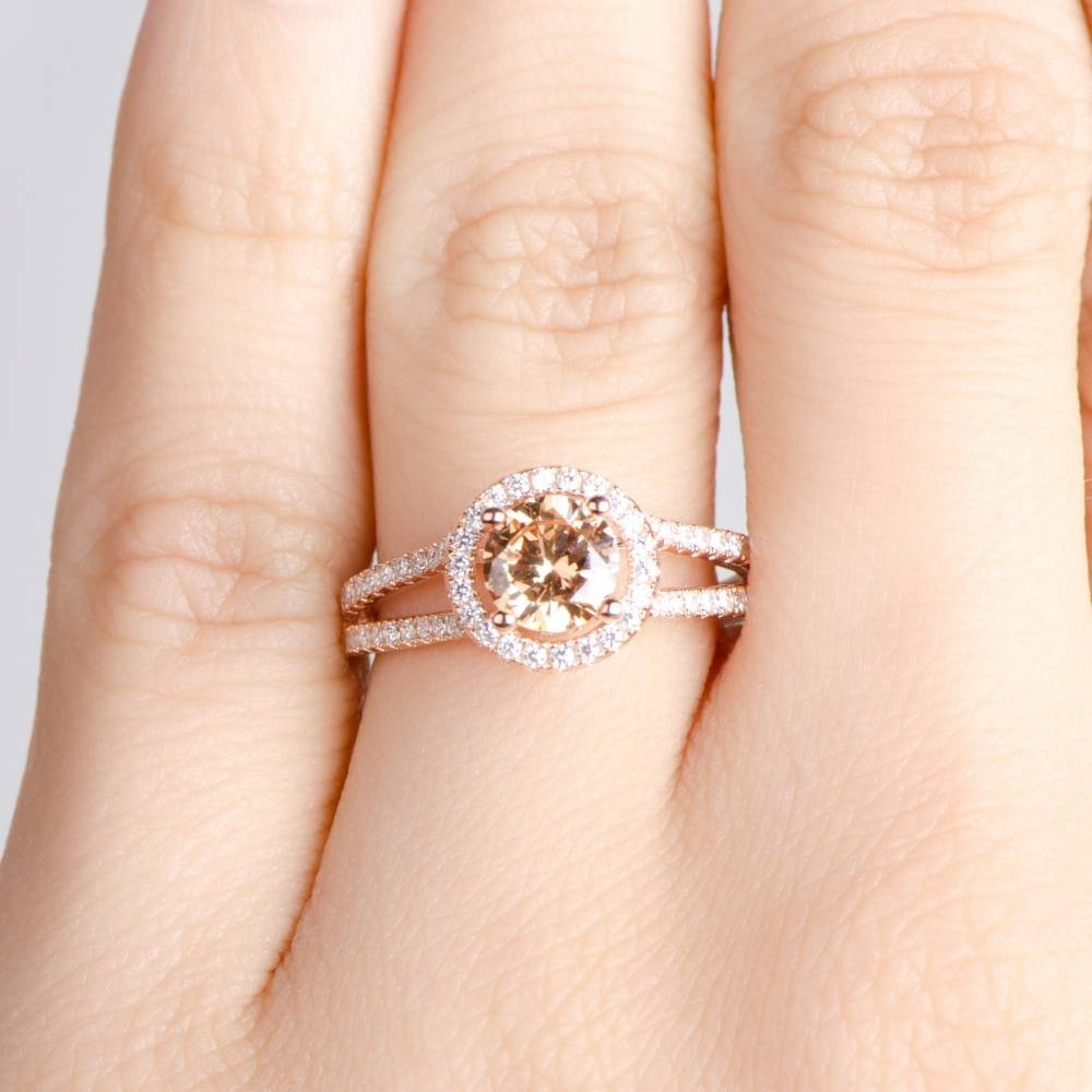 Rose Gold Engagement Ring – Champagne Cz With Halo With Regard To Gold Rose Wedding Rings (Gallery 13 of 15)
