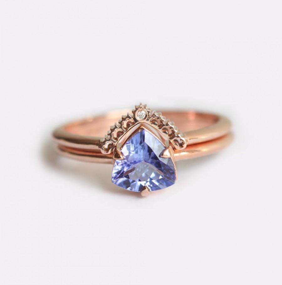 Rose Gold Engagement Ring, Tanzanite Engagement Ring, Tanzanite Throughout Diamond Tanzanite Engagement Rings (View 14 of 15)