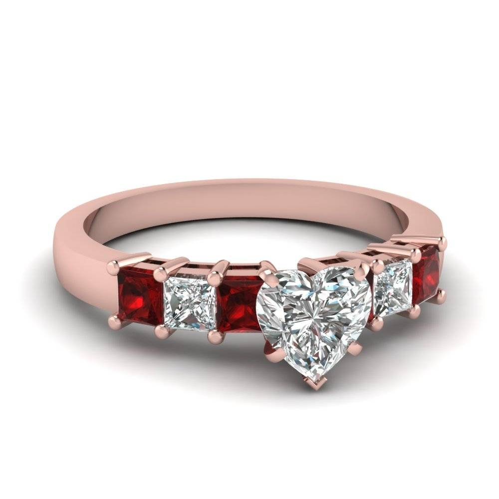Rose Gold Heart White Diamond Engagement Wedding Ring With Red With Regard To Engagement Rings With Ruby And Diamond (View 11 of 15)